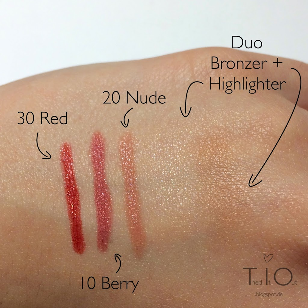 alverde End Of Summer Limited Edition Lipstick Pencils Duo Highlighter Bronzer Swatches