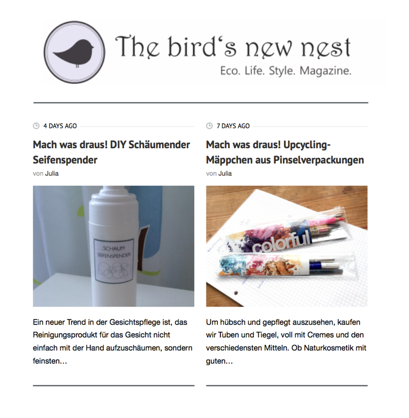 "Upcycling Artikel auf ""The bird's new nest""!"