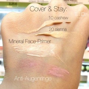 alverde Sortimentswechsel Oktober 2014 Cover & Stay Make Up, Mineral Face Primer, Anti Rötungen Concealer Swatch