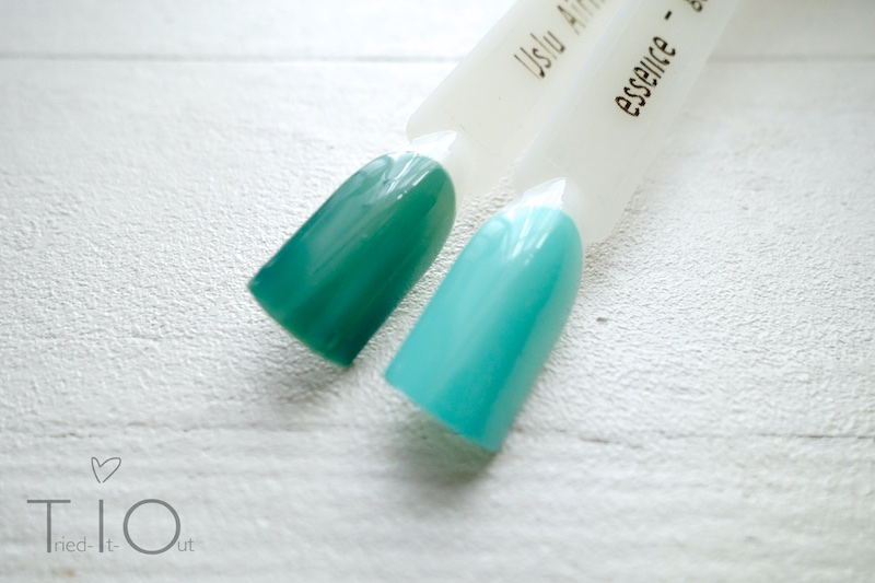 Swatches von Uslu Airlines - One und play with my mint von essence the gel nail polish.