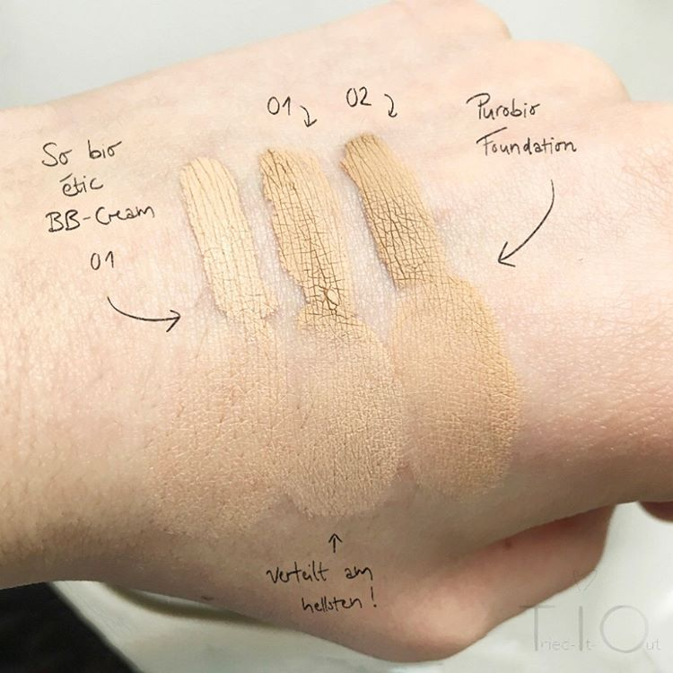 Swatches der Purobio Foundations 01 and 02, sowie der So Bio Etic BB-Cream 01
